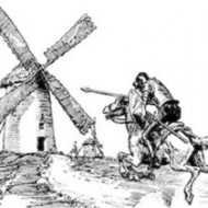 Don Quichote fighting a windmill