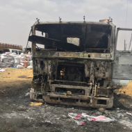 Burned truck in Yemen